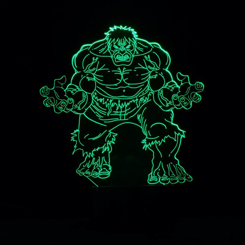 Amazing 3D Illusion Creative  Table Lamp LED Night Light with The Hulk Super Man Shape as Christmas Gifts<br><br>Aliexpress