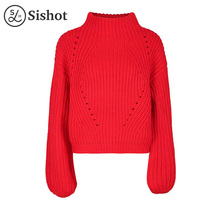 Sishot women casual knitwear 2017 autumn red plain short pullover o round neck long sleeve fashion winter casual mini pullovers(China)