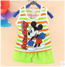 2017 Summer Children's Two-piece set Cotton Set Children's Suit Girls Boys Suits