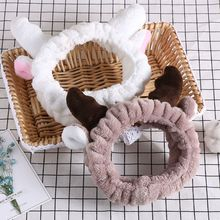 1 PC Women's Fashion Christmas Elk Horn Coral Velvet Hairband Adult Cute Soft comfortable Makeup Accessories 2 Colors