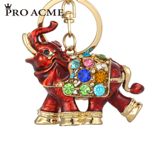 PRO ACME Colorful Crystal Keyrings 3D Lucky Auspicious Elephant Keychain Enamel Bag Charm Pendant for Women KeyChains PWK0760(China)