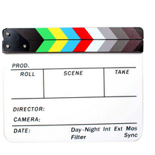 2x Professional Colorful Clapperboard Clapper Board Acrylic Dry Erase Director TV Movie Film Action Slate Clap Handmade Cut Prop