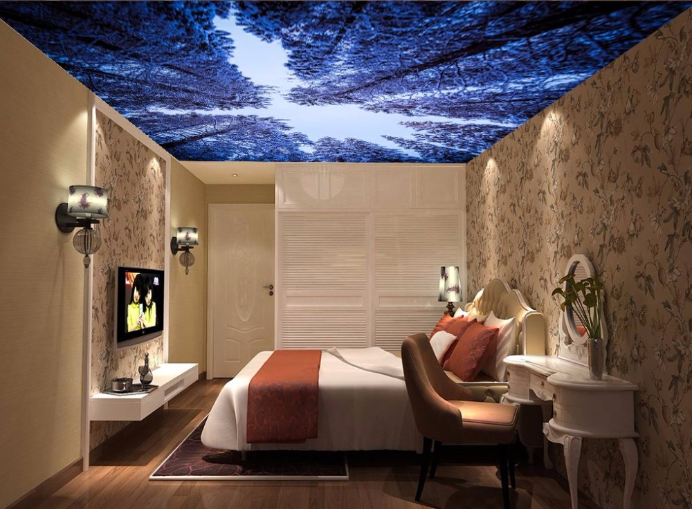 Natural freshness 3D Ceiling Wallpaper forest Hotel Lobby Living Room Luxury Wallpaper 3D Ceiling Mural Decoration<br>