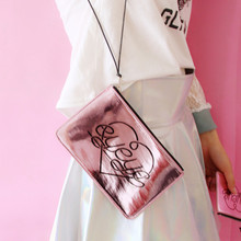 Homemade Japanese Harajuku girls face neck hanging bag bag pink mirror sparkling girl Heart Purse