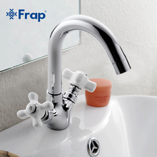 Frap Two-handle Restroom Vanities Faucet Hot and Cold Switch Isolated Taps Rotatable Stainless Steel Outlet Pipe F1318(China)