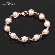 Vintage Simulated Pearl Bead Charm Bracelets & Bangles Wholesale Rose Gold Color Fashion Retro Jewelry For Women DFH171