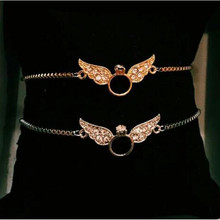 Custom 100pcs Barefoot Sandals 2017 New Hot Sales Gold Color Ankle Bracelet Jewelry Circl With CZ Angel Wings Anklets