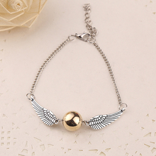 Golden Snitch Pocket Bracelet Quidditch Ball Antique Silver Wings Vintage SteamPunk Fashion Movie Jewelry Men Women Wholesale