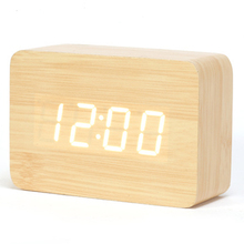 New Hot ! 2017 LED Wooden Small Digital Alarm Clock Modern Table Clock White Wood Red Word Electronic Desk Clock CYP-012(China)