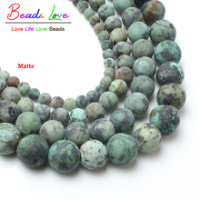 "15"" Natural Dull Polish Matte African Turquoises Howlite Stone Beads for Jewelry Making 4-10mm Natural Stone Round Beads"