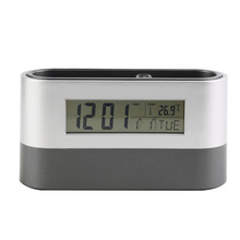 Multifunctional Digital Snooze Alarm Clock with Pen Holder Calendar Temperature Display Grey Color Drop Shipping(China)