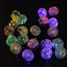 Solar Power LED Fairy Light Iron Wire Ball 20 LED String Light Curtain Lamp Waterproof Christmas Party Outdoor Garden Decor