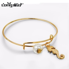 LongWay Brand Alloy Hippocampus Animals Charms Bangles Expandable Wire Minimalist Gold Color Bracelet For Women SBR150226(China)