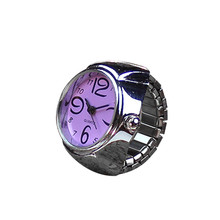 Fashion Stylish Finger Watch Ring style watches Creative Steel Round Elastic Quartz Finger Ring Watch Lady Girl Christmas gift(China)