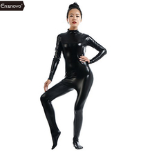 Buy Ensnovo Women Lycra Nylon Latex Shiny Metallic Zentai Suit One Piece Turtleneck Unitard Black Catsuit Bodysuit Cosplay Costume