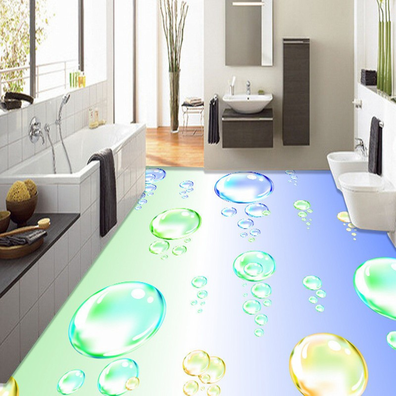 Free Shipping 3D watercolor bubble floor moisture-proof high-quality custom anti-skidding stereo wallpaper self-adhesive mural<br>