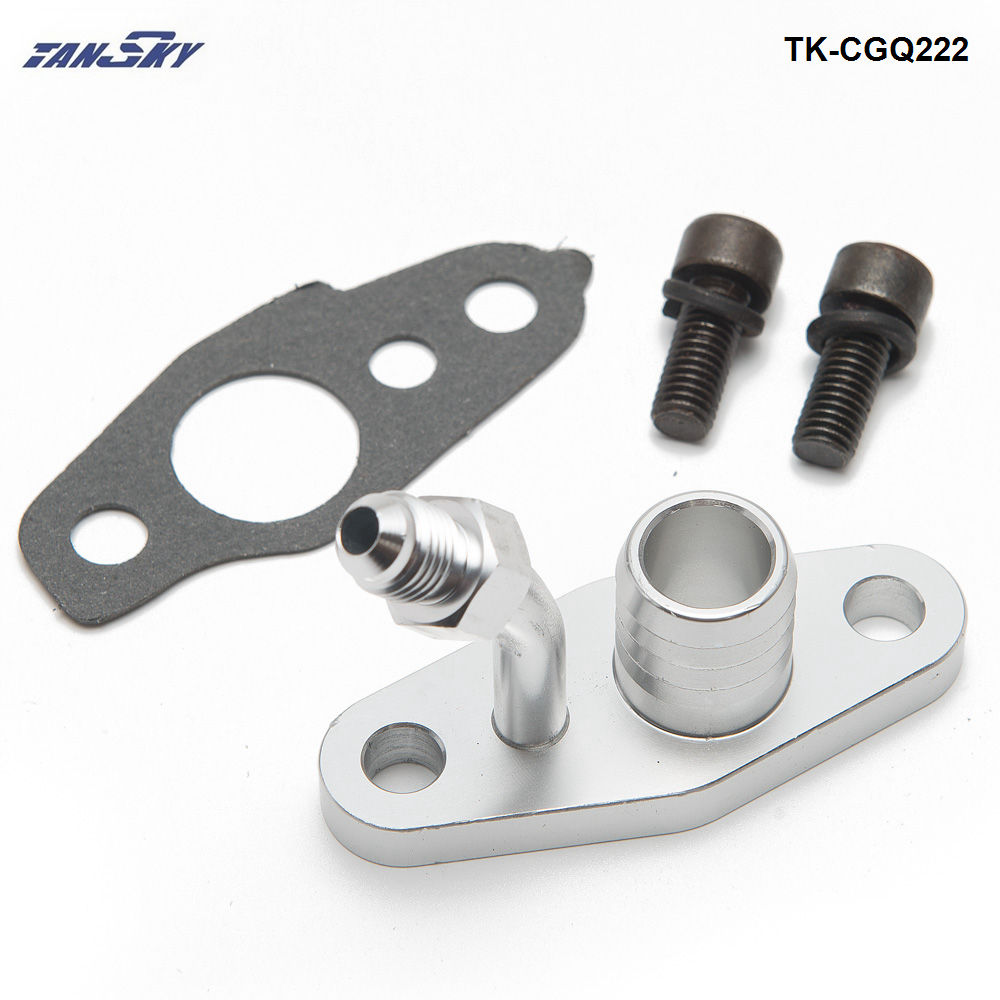 Turbo Oil Feed Return Flange For TOYOTA CT9 CT12 CT20 CT26 4AN Feed w/ 20mm Barb TK-CGQ222