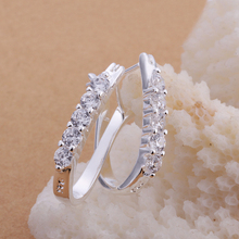2017 Top Fashion Hot Sale Trendy Women Rhinestone Brinco Free Shipping E312 Wholesale 925 Silver Earrings Fashion Jewelry