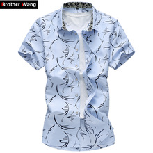 2017 Summer New Large Size Men Shirt 6XL 7XL Male Casual Print Short Sleeve Shirt Hawaii Shirt Brand Men's Clothing