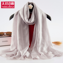 2017 New Fashion Pure Silk Women Scarf Solid Female Shawls Gig Foulard Bandana Spring Femme Wrap Scarves Muslim Hijab Lady Pareo