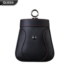 Quees Auto Genuine Leather Car Storage Bag Air Outlet Air Vent Trash Box Phone Holder Bag Container Storage Pouch Accessories(China)