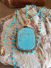 Pave Turquoises Slab Pendant Necklace Wire Wrapped Rosary Chain Necklace with Gold Spike End Beads  N15111811