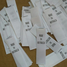 Made in Australia White clothing washing tags satin ribbon print care label 15 mm* 57 mm