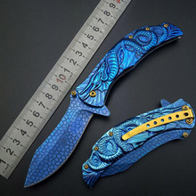 "9"" DRAGON BLUE TITANIUM Folding Pocket Knife Cosplay Fade Collection 3D Graphic survival camping Knives Good Quality Wholesale(China)"
