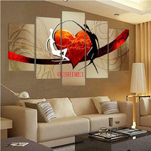 Hand Painted 5 Pcs Red Heart Picture On Canvas Lover Dancer Oil Painting For Living Rroom Wall Art Free Shipping Pictures Art