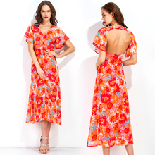 The outer mold making Europe V collar short sleeved Chiffon Dress Halter print dress 8099 spot
