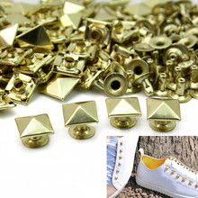50pcs/Lot 10mm Metal Gold Tone Square Pyramid Rivet Studs Spikes Punk Rock DIY Bags Shoes Clothes Decor Leathercraft New