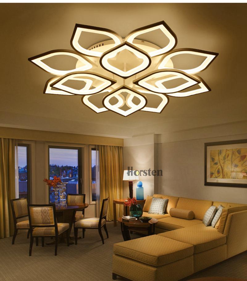 Horsten Remote Control Modern LED Ceiling Lights For Living Room Bedroom Acrylic Ceiling Lamps Flower Design Celing Lamp 90-260V (7)