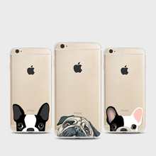 NEW Super Cute Funny Cartoon Cat Dog Case for Apple iPhone 6 6S Plus 5 5S SE Ultra Thin Crystal Clear TPU Silicone Phone Covers(China)