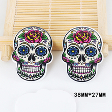 50pcs Cartoon Tattoo Peony Flower Skull Head Resin Flatback Kawaii DIY Planar Resin Craft for Home Decoration Accessories DL-548