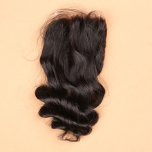 DHL Free Ship 100% Virgin Hair Lace Closure Loose Wave Human Hair Closure 4x4 Free/Middle/3 Way Part Available, Loose Wave Hair