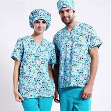 New Arrival!Pet Hospital Clinic Doctor Scrub Suit 100% Cotton Printing Light Blue Medical Operation Work Clothes Set,J12