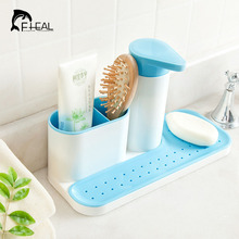 FHEAL Kitchen Sponge Holder Detergent Box Sink Self Draining Rack Dish Storage Rack Bathroom Organizer Stands Soap Jewelry Rack