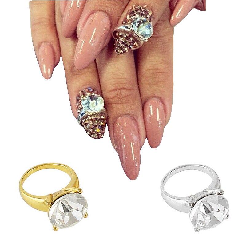 10pcs Glitters Zircon Nail Art Decorations Square Rings Luxury