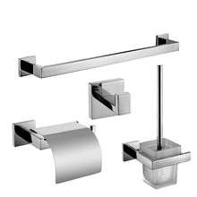 Modern SUS304 Square Base Bathroom Accessories Polished Chrome Toilet Paper Holder /Towel Bar Bathroom Products