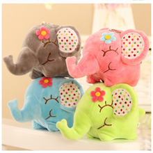 Super Cute Flower Elephant 11CM Plush Stuffed Toys Sucker Car & Room & Window Pendant Bouquet Toys for Kids F2(China)