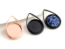 (New Colors) 20pcs/lot 12mm Inner Size Rose Gold and Black Plated High Quality Brass Material Cameo Setting Pendant Tray(China)