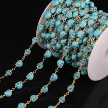 5Meter/lot,6x8mm Blue Turquoises Rosary Style Chain,Skull Turquoises Gold plate Brass Wire Wrapped Chains DIY Necklace Jewelry