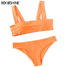 BEKOSHINE Solid Bikini Set 2017 Women Swimwear Pad Bikinis Push Up Biquini Orange Bathing Suit Beach wear New Bikini Femme