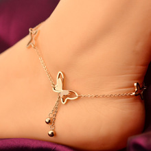 VOGUESS Delicate Butterfly Anklet Rose Gold Titanium Steel Chain Bracelet Women Girl Lover Barefoot Fashion Foot Chain Jewelry(China)
