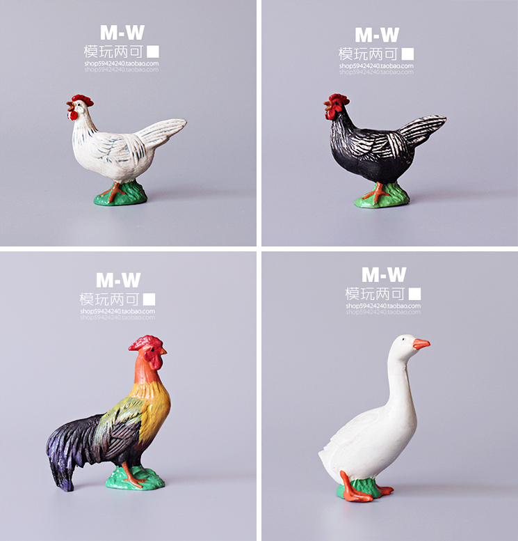 pvc  figure  Simulation Animal Model Farm Poultry - Rooster Hen White Geese model toy  4pcs/set<br><br>Aliexpress