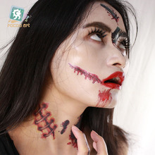 24 Different 10x15cm Latest 2017 Horror Halloween Makeup Tattoos Fake Blood Lips Scars Pumpkin Tattoos With Fake Scab Blood