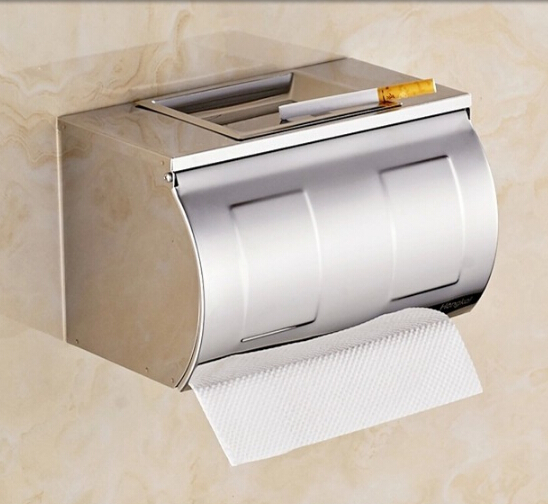 Ultra long stainless steel toilet paper box brief paper roll holder paper towel holder grass tray belt ashtray<br>