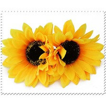 Wholesale 3Pcs Hot Sale Hair Clips Barrettes for Women Yellow Cloth Sunflower Alloy Hairpins Hair Clips Headbands for Girls(China)