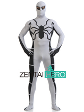Free Shipping DHL White Anti-Venom Spider-Man Costume Unique Superhero Zentai Cosplay Jumpsuit For 2017 Halloween Events JH016