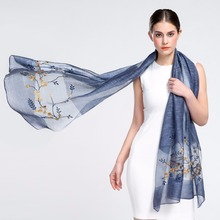 Newly Design Fashion Silk Cashmere Floral Embroidered Scarf Long Scarves Flower Beach Wrap Ladies Stole Shawl Support Drop Ship(China)